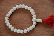 White Yak Bone Wrist Mala for Meditation with Red Tassel
