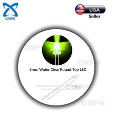 100pcs 3mm Yellow-Green LED Light Emitting Diode Water Clear Round Bright Lights