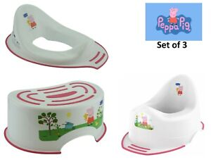 3x Pack Toddlers Peppa Pig Toilet Training Seat, Steady Potty & Step Stool 18m+