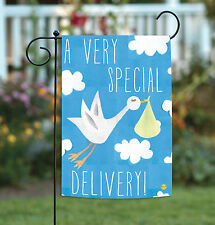 NEW Toland - Special Delivery - Cute Blue Infant Baby Stork Girl Boy Garden Flag