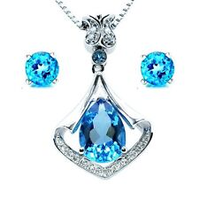 3.05Ct Blue Topaz Heart Cut Pendant Necklace & Earring Set .925 Sterling Silver