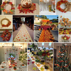 500pcs/Lot Multicolor Artificial Silk Maple Leaf Autumn Leaves Wedding Decor New