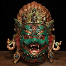 "12"" Nepal old Tibet copper inlay Turquoise gem Mahakala Mask Buddha statue"