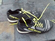 Carbrini football trainers - size UK 3 - black with white/yellow trim