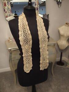 antique handmade Maltese silk lace lappet collar