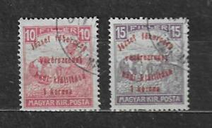 HUNGARY STAMPS- War charity stamps, overprinted, set of 2, 1917 U#
