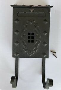 Vintage Black Cast Iron Metal Wall Mount Mailbox w/ Magazine Rack & Screws