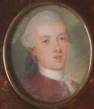 Portrait Miniatur eines jungen Mannes des 18. Jahrhunderts, Gouache