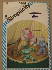 """Vintage Simplicity 6483 Puff Circle Animals and Clown - One Size 11"""" - 18"""" high"""
