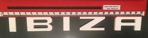 "SEAT ""IBIZA"" GLOSS WHITE REAR BADGE LOGO LETTERS BESPOKE 3mm ACRYLIC 3M BACKING"