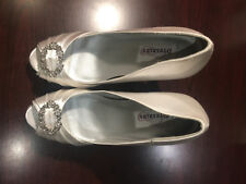 "White Satin Peep Toe 4"" Heels Shoes Dyeables W/ Rhinestone Size 9 B NEW"