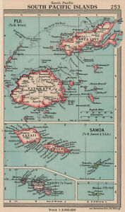 South Pacific Islands. Fiji Samoa Tahiti. BARTHOLOMEW 1949 old vintage map