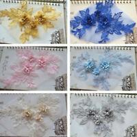 3D Flower Lace Applique Sewing Bridal Wedding Trim Motif Embroidery 19cm*15cm AU