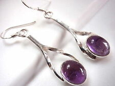 Amethyst Earrings 925 Sterling Silver Dangle 90 Degree Twisted Arms New