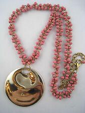 Bead Sculptured Pendant Necklace Qvc Designer Goldtone Rose-Pink Glass