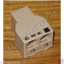 RJ12 6way Double Adaptor Plug All Sockets - Part # TD163