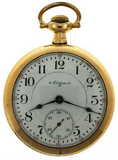 Vintage Elgin Veritas Pocket Watch 18s 23J Grade 214 Gold Filled OF Railroad