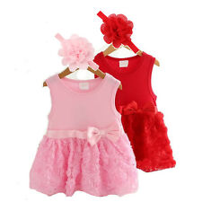2pcs Girl Infant Baby Flower Headband+Princess Party Dress Kids Clothing Outfits