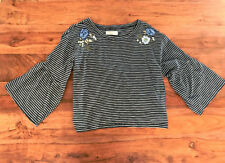 Hollister Women Navy White Stripe Floral Embroider Bell Sleeve Knit Crop  Top XS
