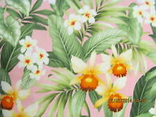 Hawaiian Quilting Fabric PINK  with Orchids and Florals NEW!