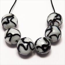 Lot 4 Perles Rondes en Verre Lampwork façon Murano 12mm Blanc