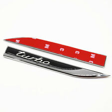 2x Metal Turbo Logo Knife Shape Car Sticker Decoration Fender Emblem Accessory