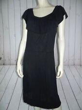 BANANA REPUBLIC Dress M Black Stretch Knit Tencel Pullover Ruffle Neck PEASANT!