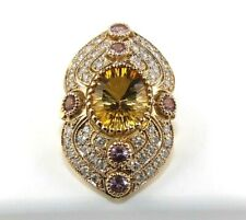 Oval Orange Citrine & Diamond Accents Solitaire Wide Ring 14K Rose Gold 7.70Ct