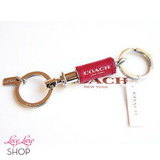 NEW COACH Red Silver Leather Wrapped Valet 2 in 1 Key Chain Ring FOB NWT