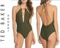 TED BAKER LONDON Pikaa Khaki Halter One Piece Swimsuit Size 8 New with Tags