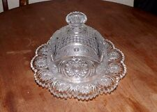 EAPG U.S. Glass Star & Crescent Dome Butter Cheese Covered Dish Plate