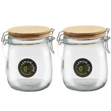 730ML Round Food Storage Jar Glass Jars Canister Container Wooden Clip Lock Lid