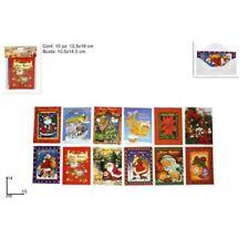 Biglietti Cartoline AUGURI Buon Natale 10 Soggetti Assortiti con Busta 9x14cm