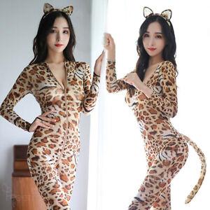 3Type Sexy Women Leopard Catsuit Long Sleeve Nylon Mesh Bodystocking Cat Costume