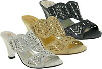 LADIES NEW FASHION STONE OPEN TOE BLOCK HEEL SUMMER WEDDING/PARTY SANDALS