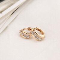 Fashion Womens Ladies Girl Plated Clear Crystal Zircon Ear Hoop Earring