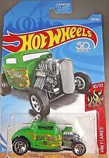 2018 Hot Wheels #246 HW Flames 10/10 '32 FORD Green w/5 spoke 50th Anniversary
