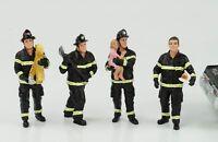 Fire brigade Feuerwehr Mann Set 4 Figuren Figur 1:24 American Diorama no car