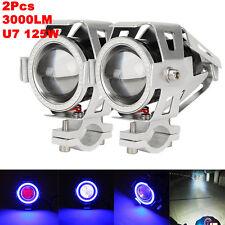 2X 125W U7 Motorcycle Bike LED Headlight Driving Fog Spot Light Lamp Cafe Racer