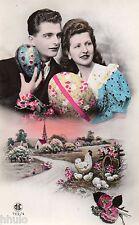 BK489 Carte Photo vintage card RPPC couple fantaisie fête de pâques poule oeuf