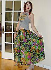 Vtg 70s BOHO Hippie INDIA SHEER Gauze Floral Garden Broomstick FULL MAXI skirt
