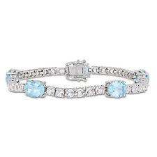 Amour Sterling Silver Sky-Blue & White Topaz Bracelet
