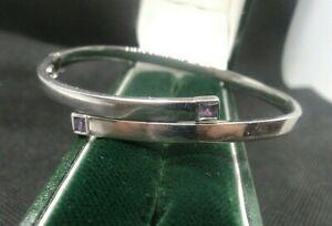 Superb Italian 9ct White Gold & Amethyst Modernist Bracelet / Bangle  -  Italy