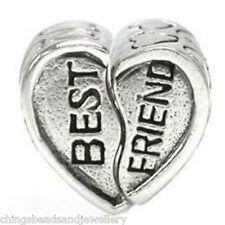 10 Tibetan Silver Grand Trou Coeur Perles 13x8mm Pour European Bracelet