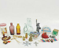VTG Antique Trinkets Lot Medicine Bottles Figurines Asprin Cross Bell 23pc