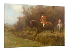 Fox Hunting - 30x20 Inch Canvas - Equestrian Framed Picture Print Horse Poster