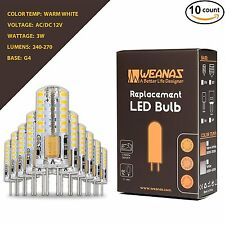 Weanas 10X G4 3014 SMD LED Bulbs AC/DC 12V 3W Undimmable Warm White Silica Light