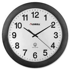 "Lorell 12"" Round Radio Controlled Wall Clock, Black - LLR60997"