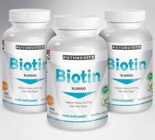 Biotina 10 000mcg Compresse 3 x 365 Bottiglie Supporti Sano Unghie & Hair Growth