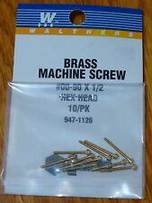 "Walthers #947-1126 / 00-90 Brass Hex Head Machine Screws -- 1/2 x .047"" 1.27 x ."